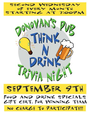 TRIVIA NIGHT SEPTEMBER 9th 2015